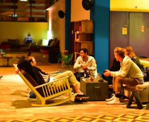 lounge area with people talking